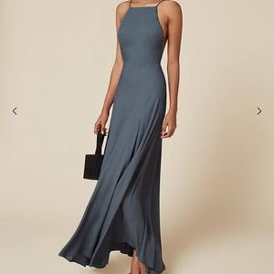 Reformation Frossen Dusty Blue Maxi Dress